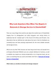 Why Look Anywhere Else When You Require A Removals & Storage Service In Chesterfield.pdf