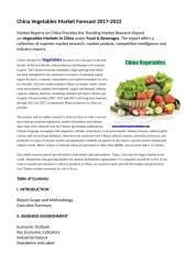 China Vegetables Market Forecast 2017-2022.doc