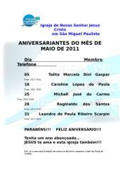 IGREJA - ANIVERSARIANTES MAIO-JUNHO.doc