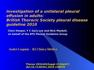 Investigation of a unilateral pleural effusion in adults.ppt